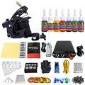 Solong Tattoo Nueva Principiante Kit de Tatuaje 1 Pro Machine Gun tip 7 colores juego de tintas de Alimentación Aguja Grips TK105-2