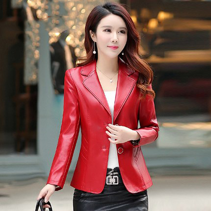 Spring and autumn new women's jacket small suit PU leather Slim short single-breasted long-sleeved pu leather suit jacket JQ148