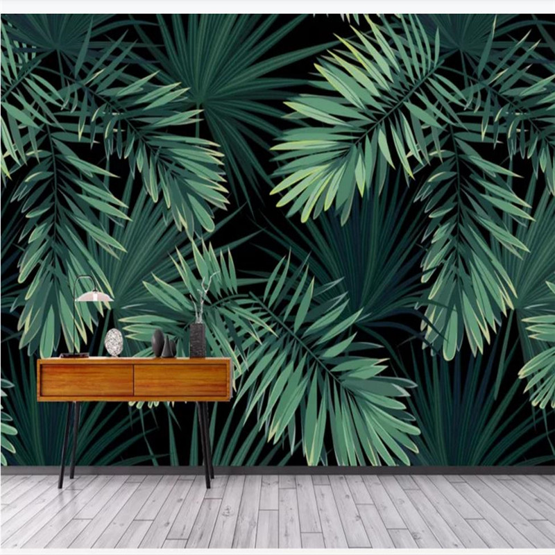 Custom wallpaper new Chinese abstract retro hand-painted rainforest banana leaf background waterproof material