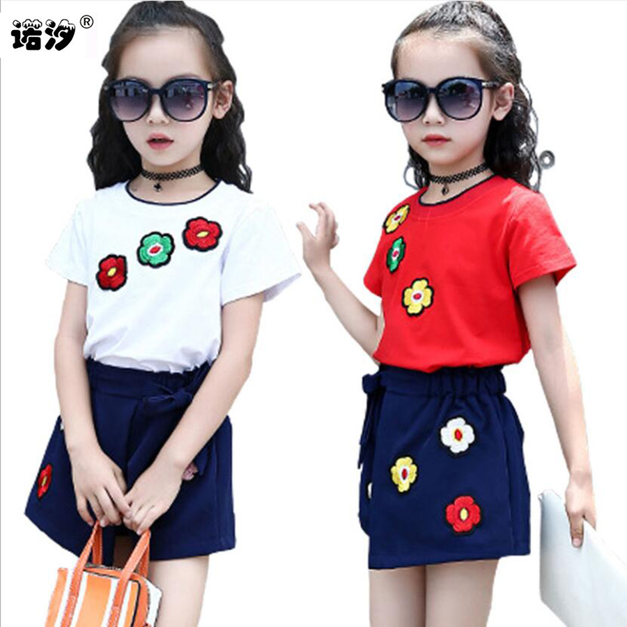 Girls tops kids sets summer Style tops+shorts children fashion soft Tee+trousers 3-11 Y children outwear baby sweat clothes sets