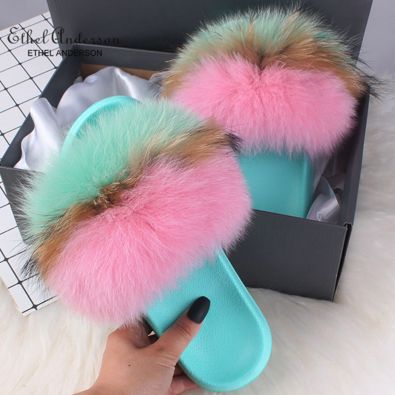 2019 Hot Sale Women Real Fox Fur Slippers Multi-color Summer Fashion Slides Casual Female Furry Shoes