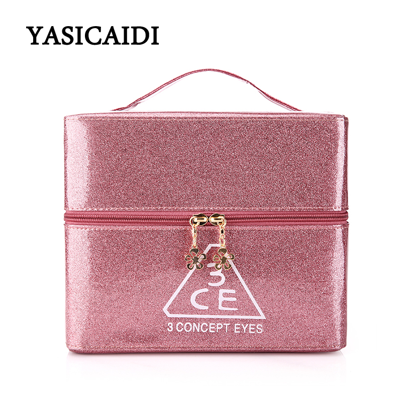 Famous Brand Cosmetic Bag High-quality Cosmetologist Travel Organizer Cosmetic Case Professional Toilet Bag 3 Layers Makeup Bag oswego brand bling sequins cosmetic bag zipper bag portable fashion small makeup bag cosmetic cases organizer travel toilet kit