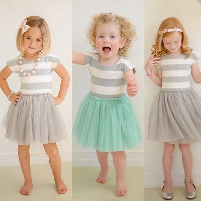 Todder Kids Girls Striped Print Formal Princess Wedding Party SHort Sleeve Lace Dress