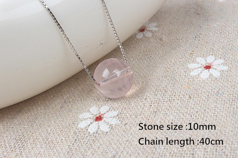 925 Sterling Silver Box Chain Necklaces 10mm Powder Crystal Natural Stone Pendants Necklace for Women Party Fashion Jewelry Fine