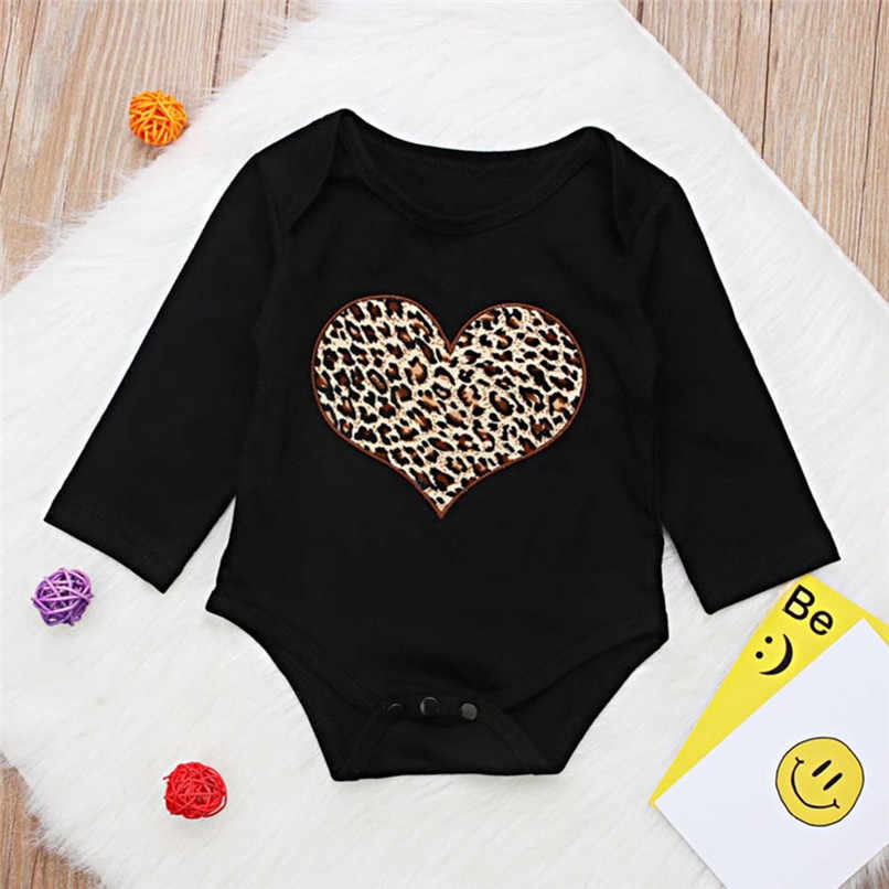 Babys Girls Clothes Toddler Infant Baby Girl Leopard Heart Printed Long Sleeve Jumpsuit Romper Clothes Baby Girls Romper #BL1