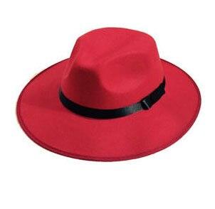 Модные Винтаж Для женщин шляпа с широкими полями ленты теплая шерсть Смеси фетровая шляпа котелок Fedora Кепки - Цвет: red