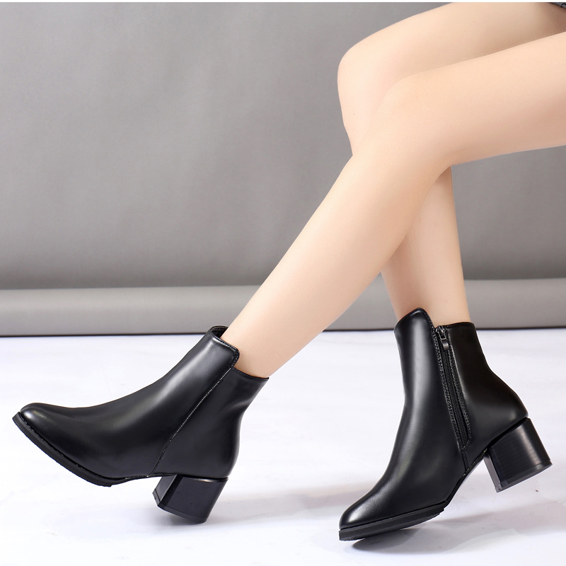 Women Boots High Heels Ankle Boots Fashion 2018 Autumn Chunky Heel Ladies Short Boots Shoes Female Khaki Shoes Big Size 8 whitesun plus size boots women martin boots autumn winter shoes female ankle boots buckle retro style chunky heel short boots