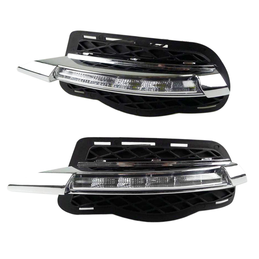 LED DRL Daytime Running Lights for Mercedes Benz W204 C Class 180 200 250 260 300 12V Waterproof LED Daylight Signal Light akd car styling for mercedes benz c class w204 led star light drl front grille led logo hollow emblem daytime running light