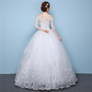 Image 4 - White Lace Boat Neck Half Sleeve Fashion Simple Wedding Dress Gowns Hiqh Quality Floor Length Big Embroidery Off the shoulder