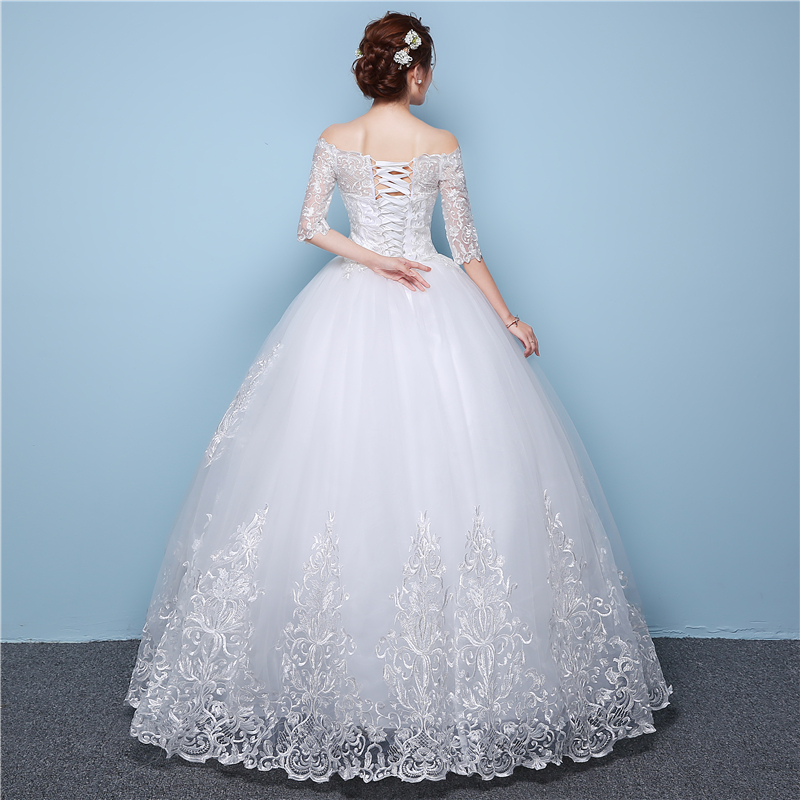 Image 4 - White Lace Boat Neck Half Sleeve Fashion Simple Wedding Gowns  Hiqh Quality Floor Length Big Embroidery Off the shouldersimple  weddingsimple wedding gownwedding gowns