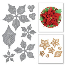 Layered Poinsettia etched Dies Metal Cutting Dies for Scrapbooking Photo Album Card Paper Embossing Craft DIY Cutting Dies(China)