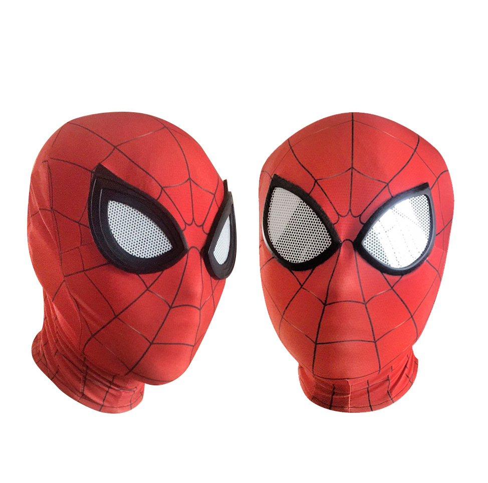 Men Spiderman Mask Cosplay Spider-Man Mask Red Hooded Mask Adult Full Face Lycra Hallowe ...