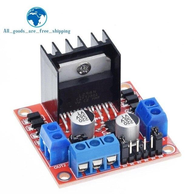 Tzt 10個新デュアルhブリッジdcステッピングモータドライブコントローラボードモジュールL298N arduinoのスマートカーロボット