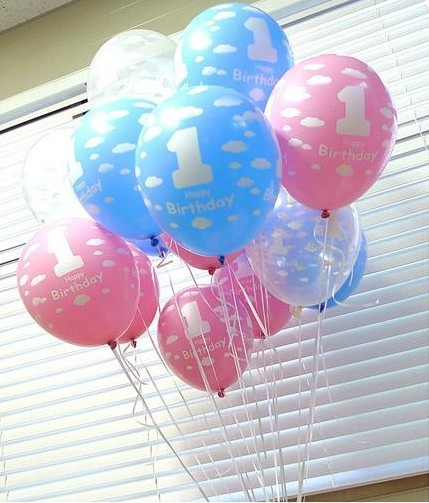 5 Pcs Lot The First Anniversary Balloons NO 1 One Year Birthday Balloon For