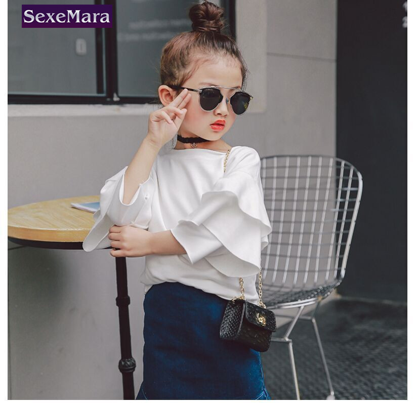 Girls 2017 baby girl chothes new spring round collar comfortable fashionable lotus leaf shirt 2 7