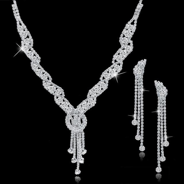 ATTRACTTO Custom Fashion Rhinestone Wedding Jewelry Set Tassel Necklace Earrings For Bridal Elegant Lady's Jewelry Set SET150067 1