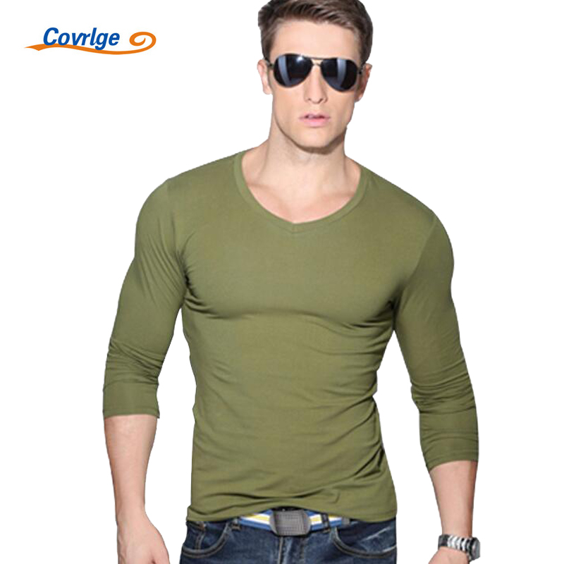 Covrlge New Men Fashion Solid T-shirt Spring Long Sleeve Slim Shirt Brand Clothing casual Mens V-neck Tops Tshirt for Man MTL001