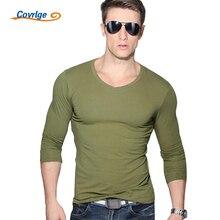 Covrlge New Men Fashion Solid T-shirt Spring Long Sleeve Slim Shirt Brand Clothing casual Mens V-neck Tops Tshirt for Man MTL001