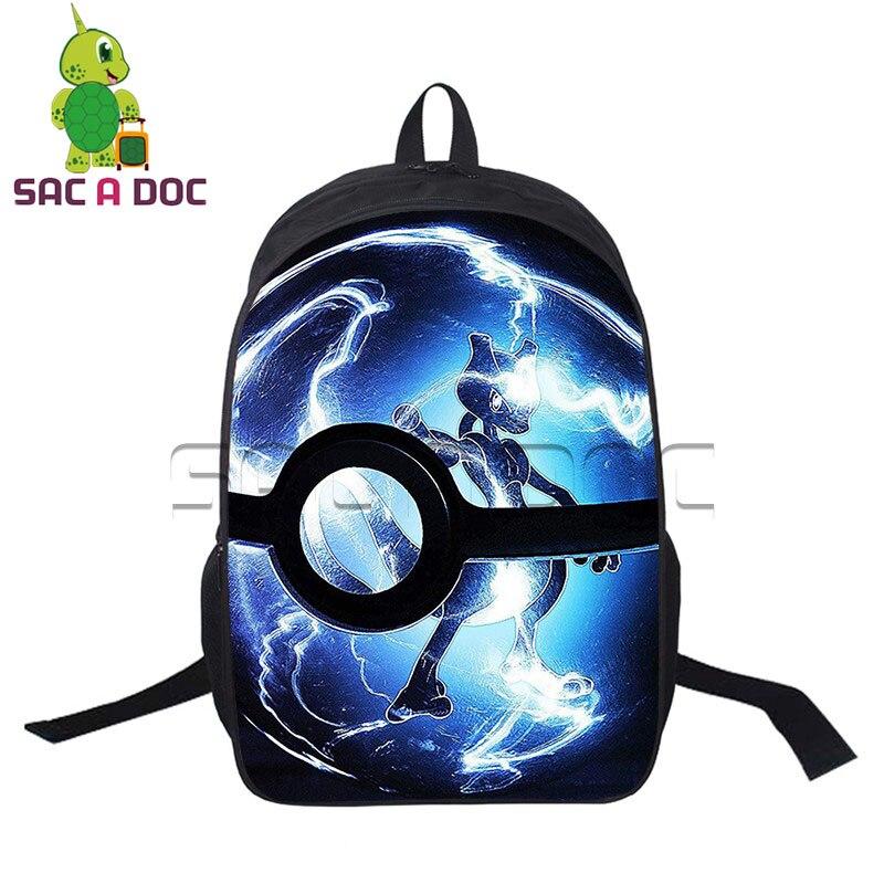16 Inch Pokemon Backpack Anime Mewtwo Pikachu Bagpack Boys Girls School Bags For Teenagers Laptop Backpack Bag Bolsa Escolar