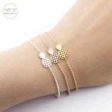 Rose Gold Charm Friendship Bracelet Stainless Steel Fruit Pineapple Bracelets For Women Fashion Jewelry Bijoux Femme 2019