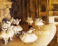 Peinture à l'huile Reproduction sur Toile de Lin, the-ballet-rehearsal-on-stage-1874 par edgar degas, livraison DHL Expédition RAPIDE, 100% fait main