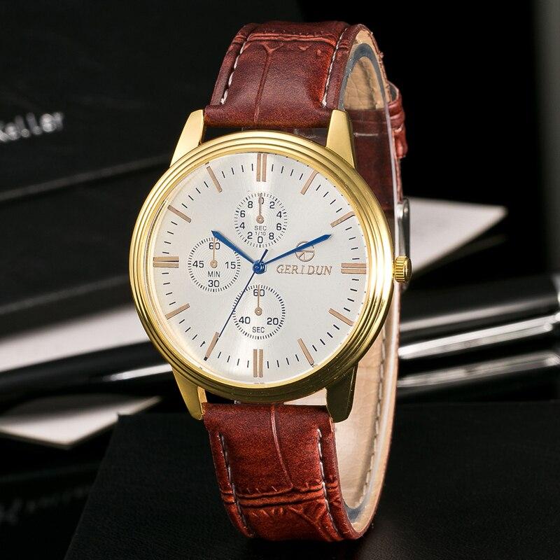 Bestverkopende Militaire Horloges Herenmode Gestreept Leer Kwarts - Herenhorloges - Foto 1