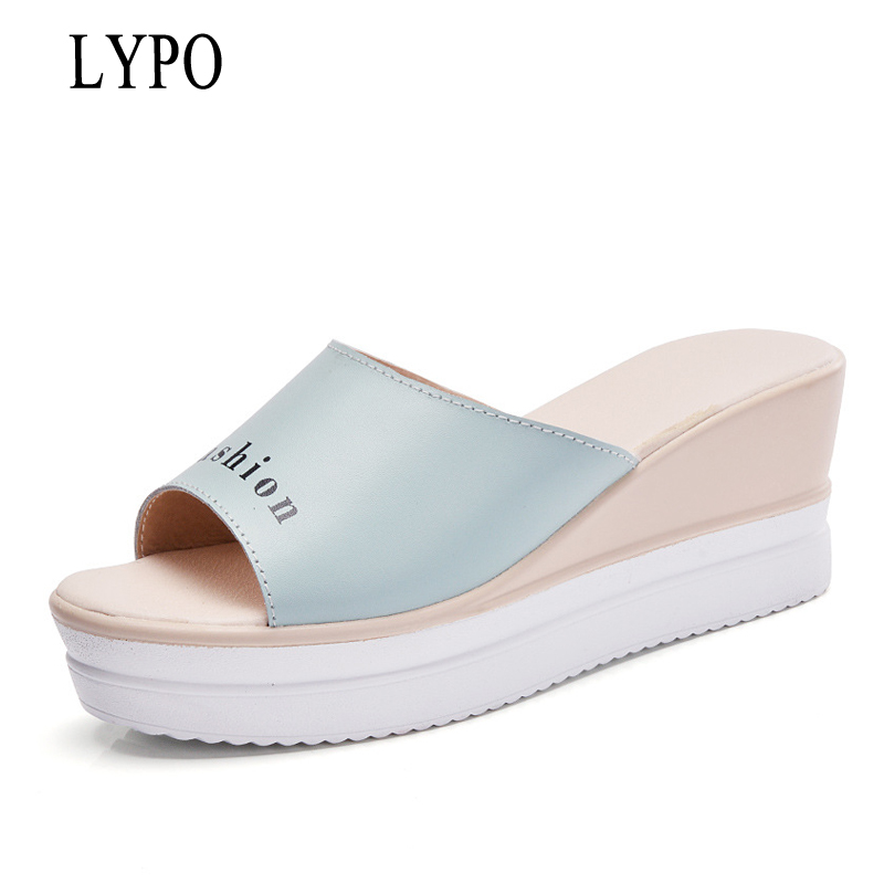 LYPO 2018 summer new Korean version of the wild lovely students thick slippers high heels slope with the outdoor a word drag 2017 of the latest fashion have a lovely the hat of the ear lovely naughty lady s hat women s warm and beautiful style