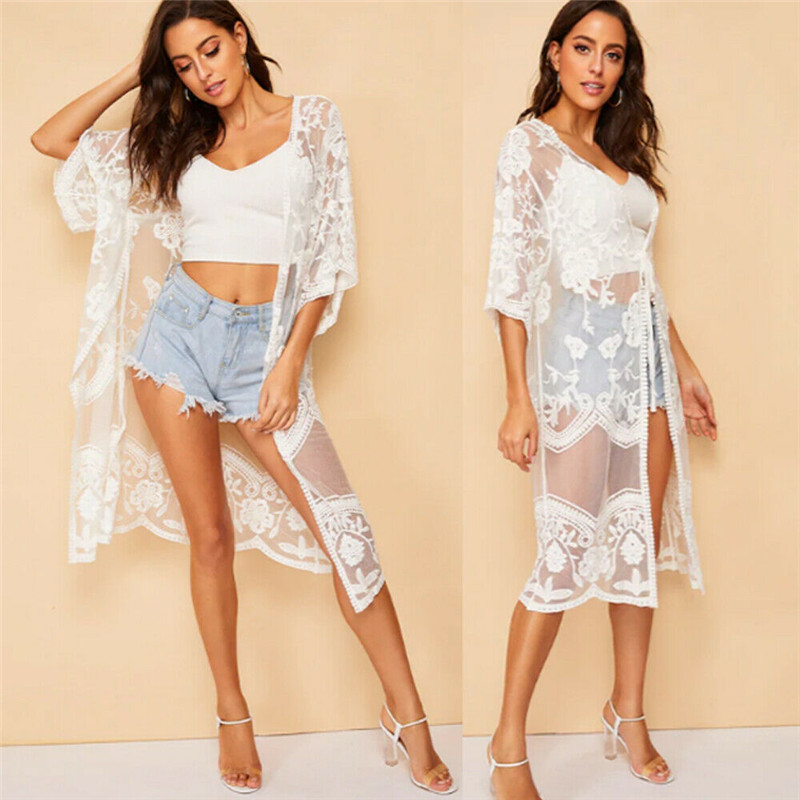 Women Swimsuit Lace Cover Up Pareo Beach Cover Up Embroidery 2019 New Bikini Cover Up Robe De Plage Summer Beach Wear Cardigan