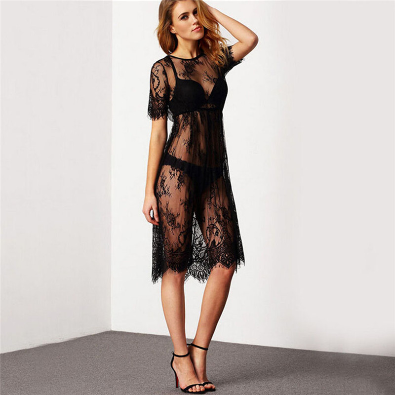 5a7a803728e6f 2018 Lady Sheer Sexy Beach Cover Up Lace Embroidered Mesh Cover Ups Short  Sleeve Swimsuit Women s Lace Blouse Beach Cover Up-in Cover-Ups from Sports  ...