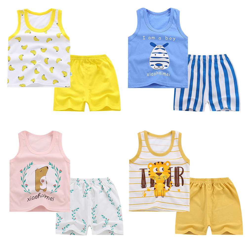 2019 New Baby Girls Vest Sets Toddler Boys Cartoon Tops and Shorts Summer Infant Playsuit Children Cotton Clothing Sleeveless Рукав