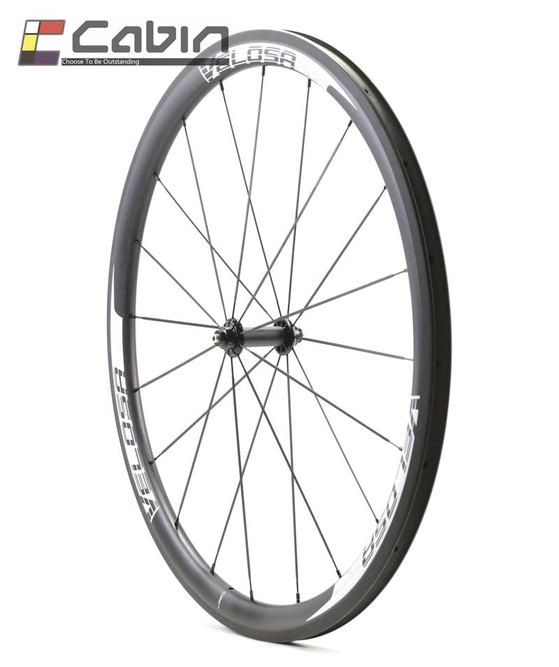 Velosa super sprint 35 bike carbon front wheel, 700C 38mm clincher/tubular road bike wheel velosa supreme 50 bike carbon wheelset 60mm clincher tubular light weight 700c road bike wheel 1380g