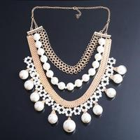 White Pearl Statement Necklace For Women Lady 18K Gold Plated Multilayers Pearl Collar Bib Choker Statement