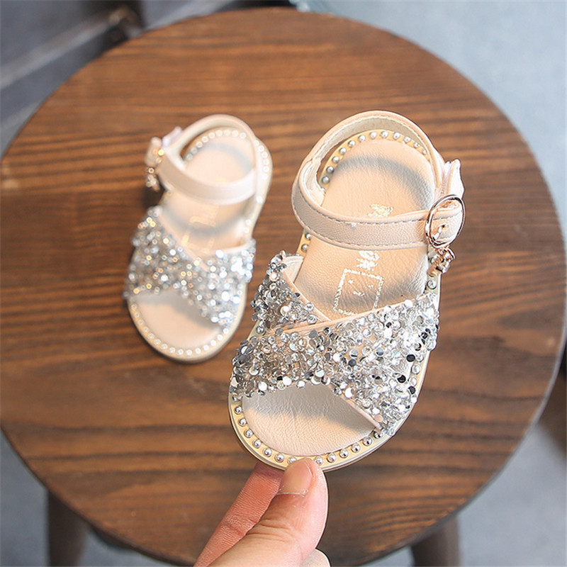 DIMI 2019 New Girl Baby Sandals Sequin Rhinestone Little Girl Princess Sandals 0-3 Year Summer Toddlers Shoes Flat Soft