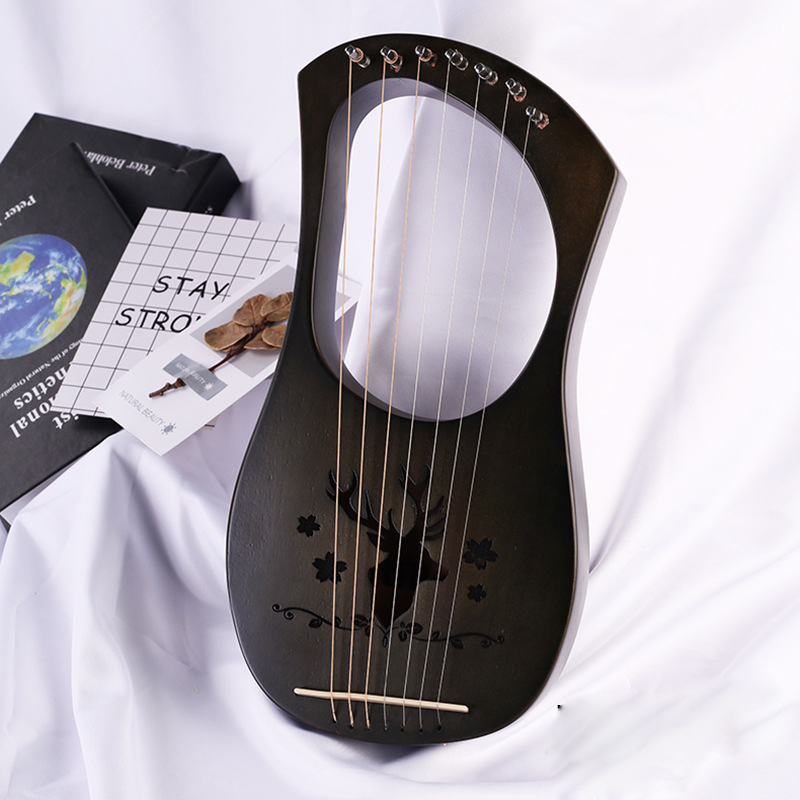 7 String Lyre Harp Metal Strings Solid Mahogany Wood String Instrument with Carry Bag and usermanual