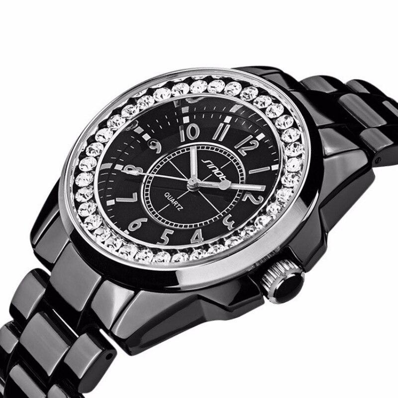 SINOBI Women's Watches Top Brand Luxury Rhinestone Ladies Watch Women Watches Fashion Stainless Steel Clock Relogio Feminino