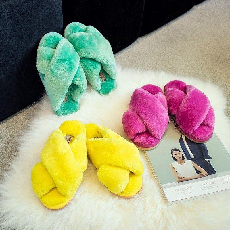 2017 Autumn Winter Slippers Men Women Indoor Plush Warm Comfortable Flat Heel Slippers Home