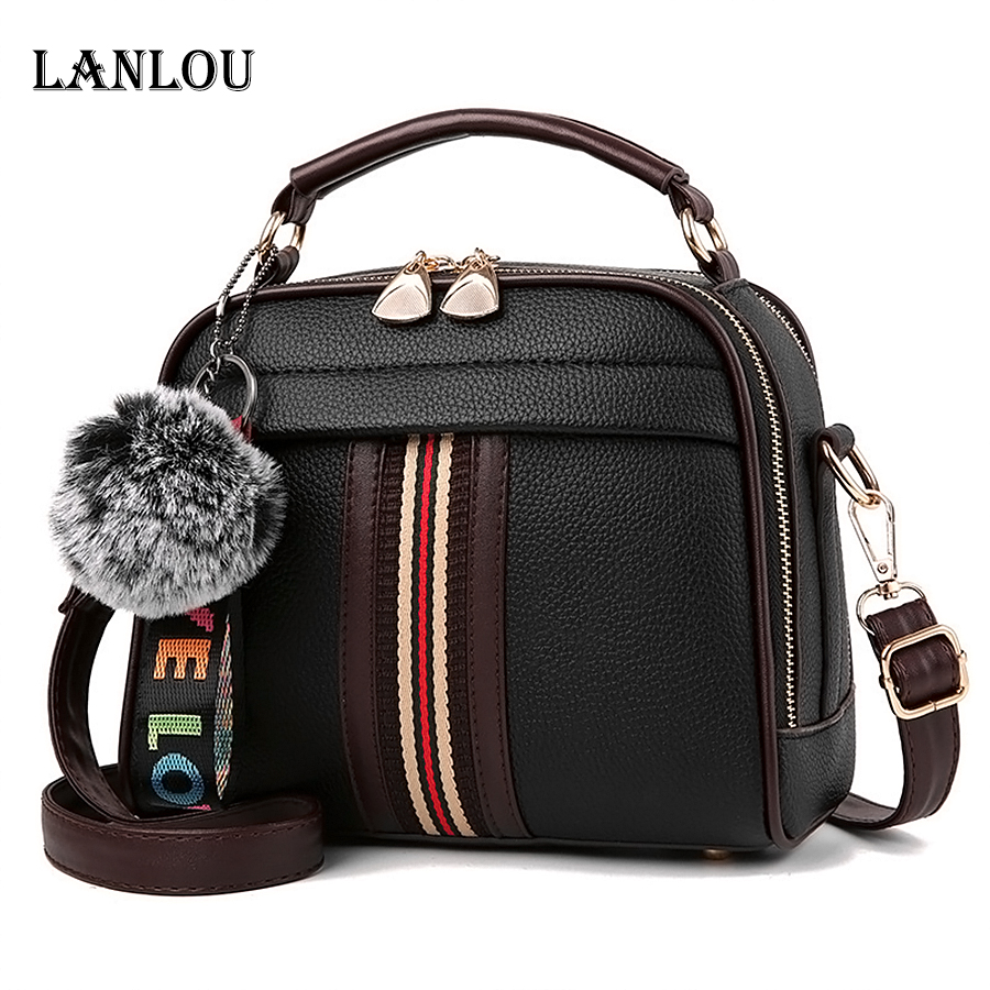 LANLOU women bags shoulder bag bags for women 2019 fashion Hairball women luxury handbags designerCasual crossbody bag for women(China)