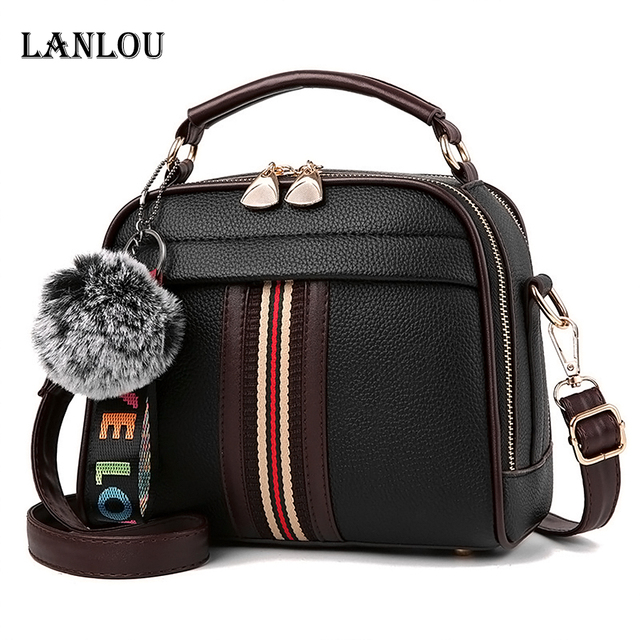 Womens luxury shoulder bag with Hairball Casual cross-body bag for women