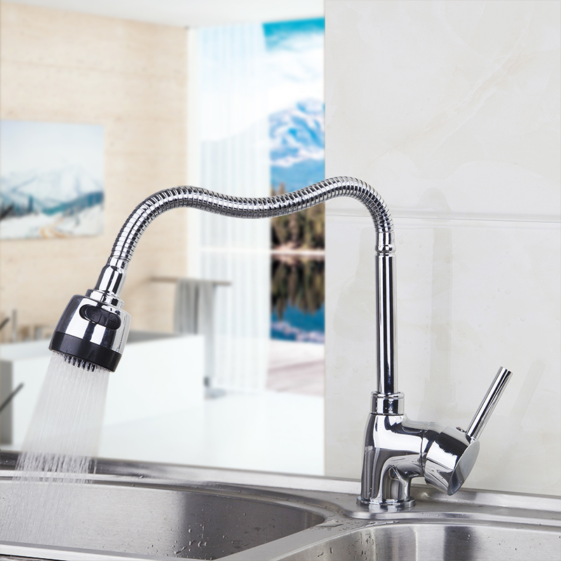 Sumptuous and Reasonable in Price 360 Degree Swivel Kitchen Faucet Chrome Polished Single Handle Single Hole