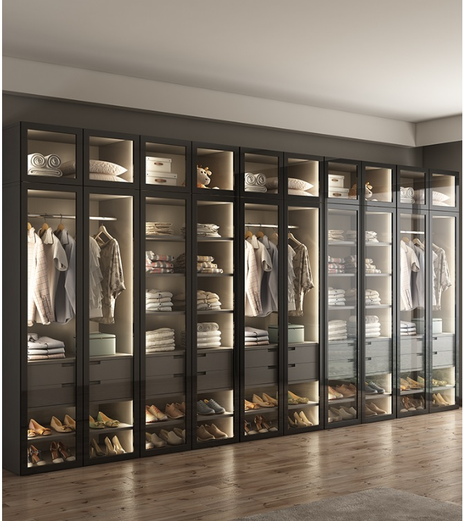 5pcs Wardrobe With LED Lighting / Dress Closet Armoire With Glass Door / Bespoke Fitted Dressing Room