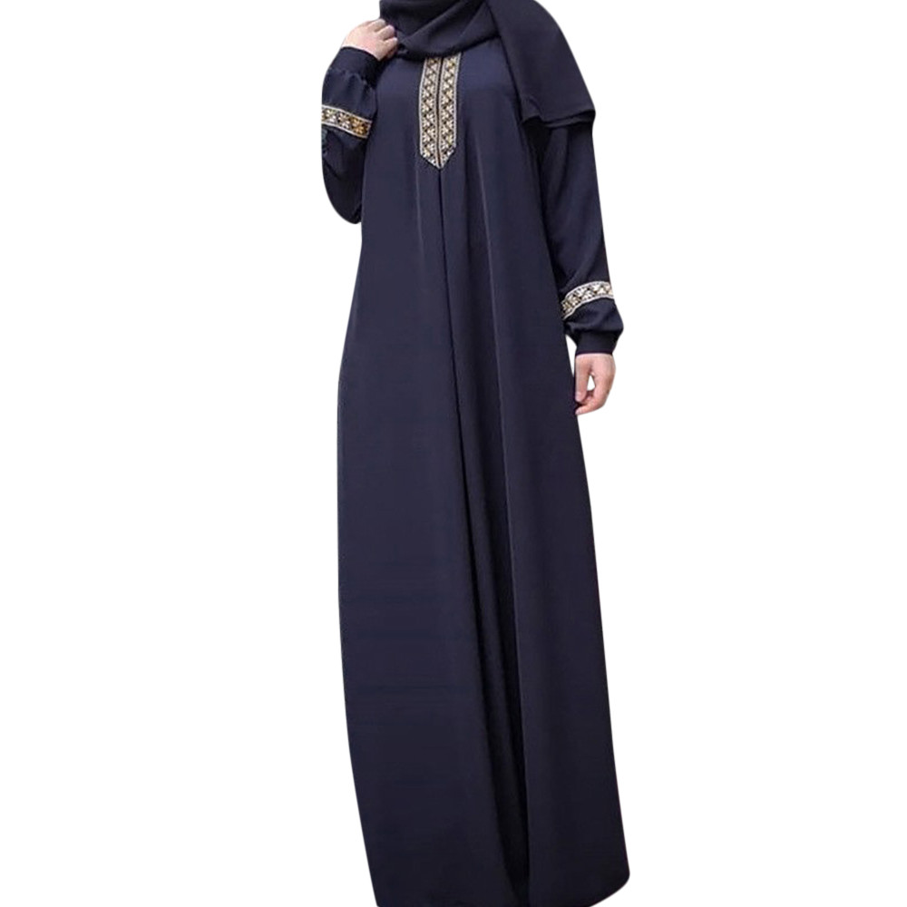 Hot High Quality Women Plus Size S-5XL Polyester Print Abaya Jilbab Muslim Maxi Dress Casual Kaftan Long Dress 2019 New Arrivals