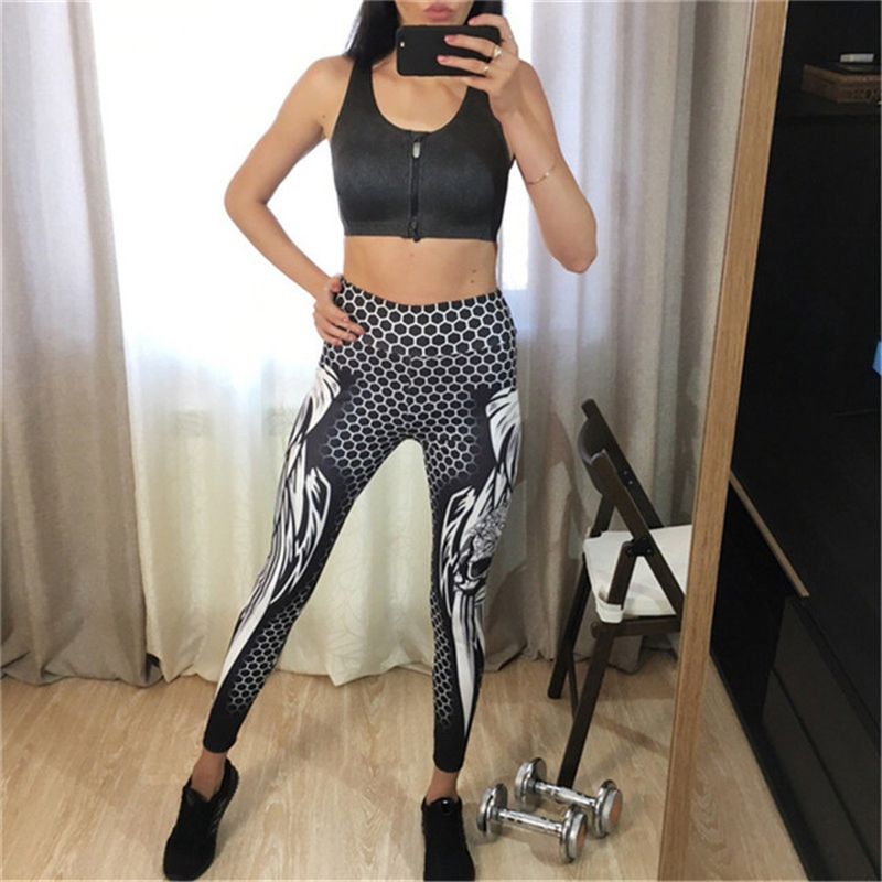 CHRLEISURE Honeycomb Skull Fitness Legging Solid Color Sexy Fashion Print Leggings Polyester Wings High Waist Women