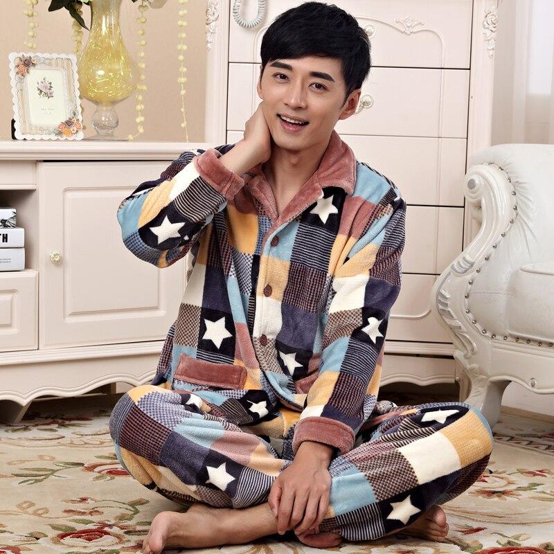 Winter Men Sleepwear   Flannel Thickening Warm Pajamas Middle-aged sleep Pyjamas trousers Men's lounge Pajama Set