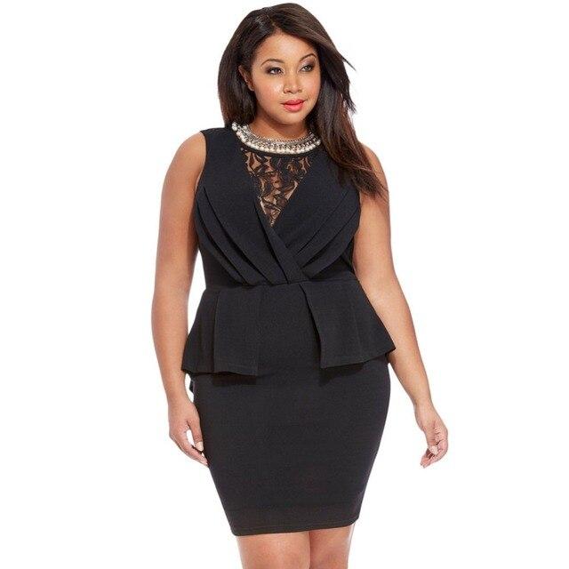 Hot Sale Plus Size Womens Summer Sleeveless Pencil Dresses Lace
