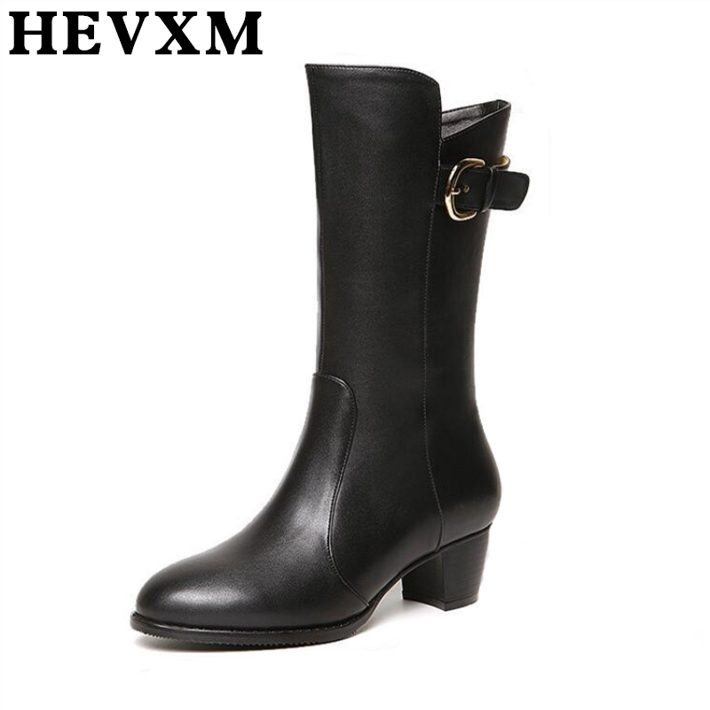 HEVXM 2017 Autumn And Winter New High Quality Women Leather Boots Fashion Trend Knee-Length Woman Long Boots Plus Size 40