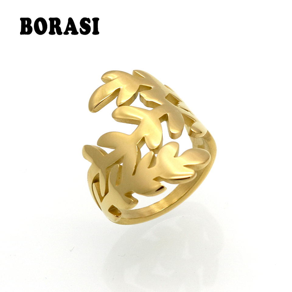 BORASI Brand Cocktail Party Rings For Woman Stainless Steel Gold Colors Leaf Hollow Out Female Rings Engagement Wedding Jewelry