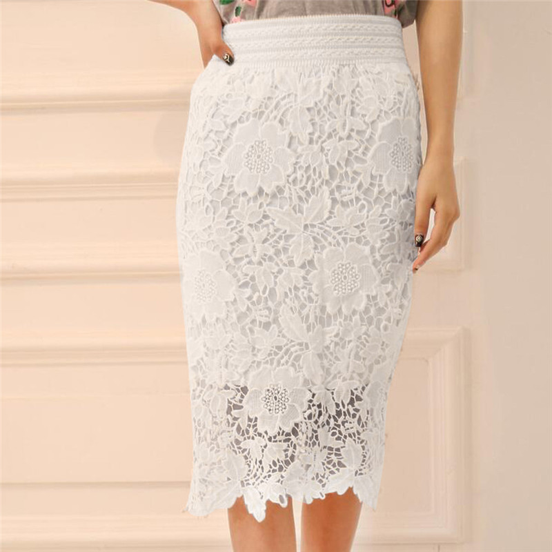 Women Fashion Elastic Lace Knee-Length High Waist Party Skirt New Style Women Fashion Skirt Wolovey Waist Party Skirt A1$