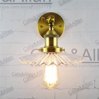 D200mm clear glass lampshade brass holder wall loft light E27 AC110V/220V bronze beside sconce industrial wall lamp fixture