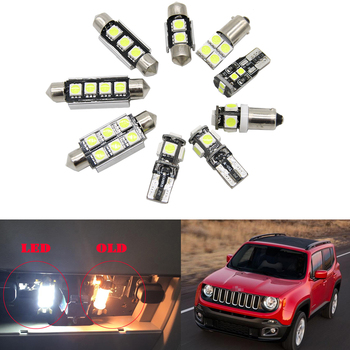 цена на 13pc x canbus error free Car LED bulb Interior Dome Map Light Kit package For Jeep Renegade License plate lamp 2015-2018