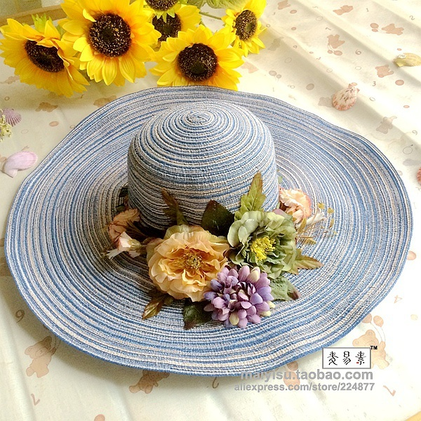 Chapéu femenino hecho a mano floral de la flor de ala ancha de paja de moda de verano sombrero del cubo dom sombrero de la playa para las mujeres
